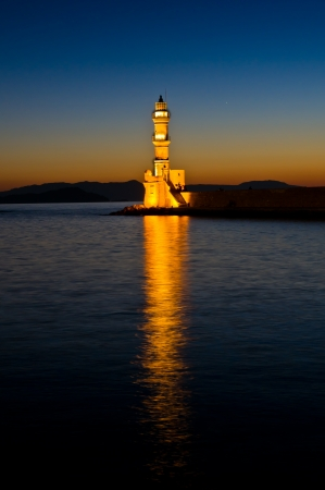 Old venetian lighthouse at the entrance of Hanya harbour, Crete