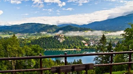Lake Bled surrounding Alpen environment Stock Photo