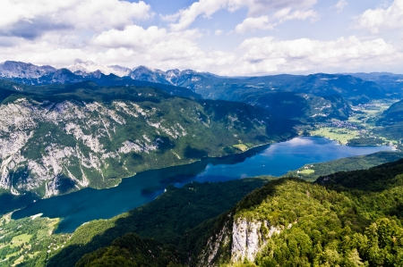 Lake Bohinj and its surrounding southern Alps mountains photo