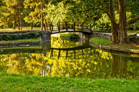 Wooden bridge in a park photo