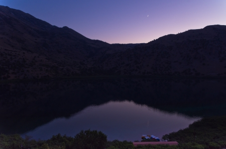 kournas: Silent summer evening on Kournas lake at the island of Crete