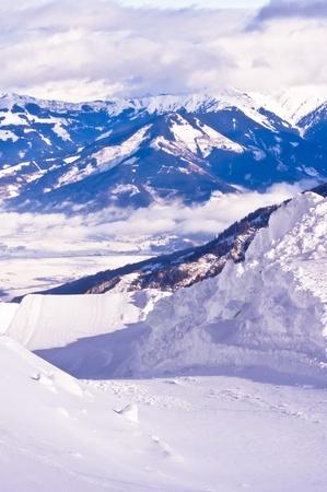 wonderfull: Una maravillosa vista de las pistas de esqu� en glaciar de Kaprun Foto de archivo