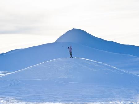 Lonely skier near the top of Kaprun glacier Stock Photo - 18752177