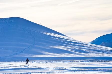 Lonely skier at Kaprun glacier Stock Photo - 18752323