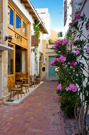 mediterranean style: Back street cafe at the old town of Rhetymno, island of Crete