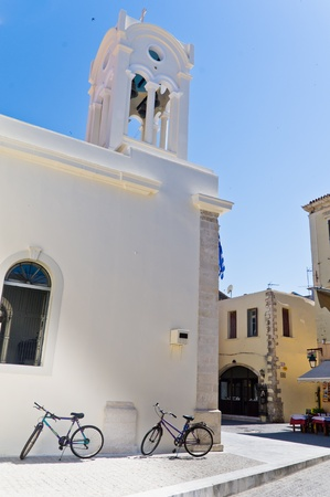 ortodox: Two bycicles in front of the Ortodox church at the old town of Rhetymno, Crete