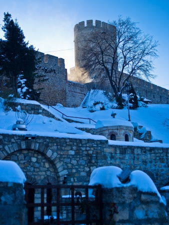 Kalemegdan fortress in winter, at the confluence of rivers Danube and Sava, Belgrade, Serbia photo