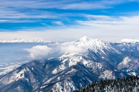 Sunny morning at the south side of the Alps, mount Krvavec, Slovenia Stock Photo