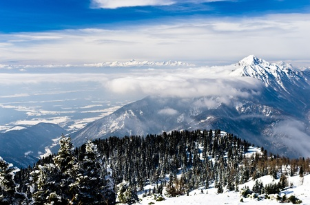 karavanke: Beautifull landscape of slovenian side of the Alps, a view from mount Krvavec, Slovenia Stock Photo