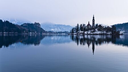 Lake Bled in winter, view from a boat, Slovenian Alps