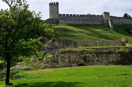 serbia landscape: Kalemegdan fortress in spring - a view from Danube river, Belgrade, Serbia Editorial