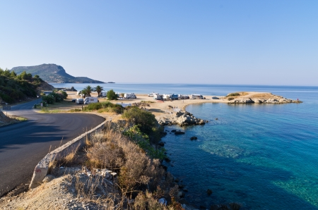 Morning at campers favorite cape for summertime vacations in Macedonia Greece Banco de Imagens