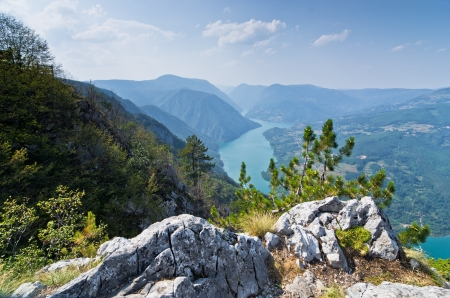 tara: Viewpoint Banjska rock at Tara mountain looking down to Canyon of Drina river, west Serbia