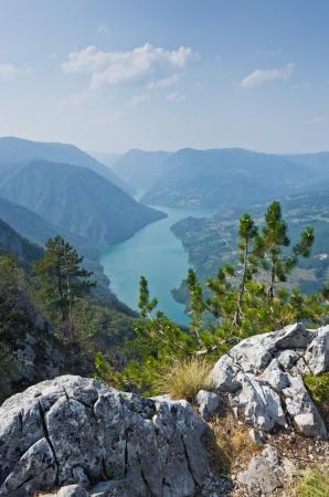 hill of tara: Viewpoint Banjska rock at Tara mountain looking down to Canyon of Drina river, west Serbia