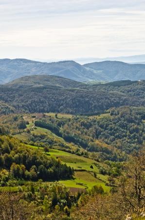 serbia landscape: Landscape of mount Bobija, peaks, hills, meadows and green forests, west Serbia