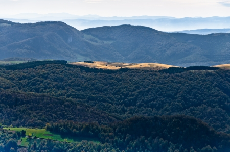 serbia landscape: Viewpoint on a landscape of mount Bobija, peaks, hills, meadows and green forests, west Serbia