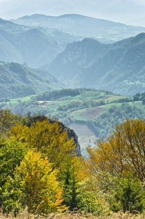 serbia landscape: Viewpoint on a landscape of mount Bobija, rocks, hills, meadows and colorfull forests, west Serbia