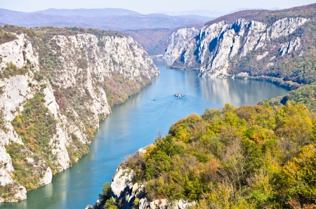 2000 feets of vertical cliffs over Danube river at Djerdap gorge and national park, east Serbia