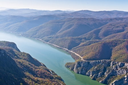 Hillsides of a surrounded mountains over Danube river at Djerdap gorge and national park, east Serbia