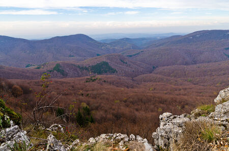 serbia landscape: Homolje mountains landscape, peaks and rocks on a sunny autumn day with a few clouds, east Serbia Stock Photo