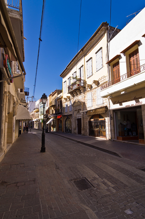 Street with shops at the old medieval part of the city Rethymno, Crete, Greece