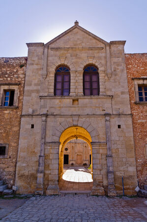 arkady: Gate with entrance to Arcady monastery, island of Crete, Greece