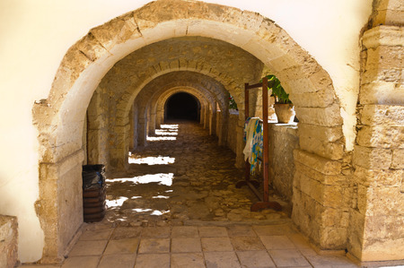 Corridor at famous Arcady monastery, island of Crete, Greece