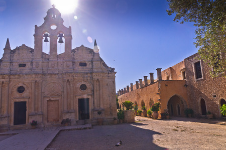 arkady: Yard at famous Arcady monastery, island of Crete, Greece Stock Photo