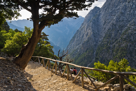 Trail thru Samaria gorge, central part of Crete island, Greece photo