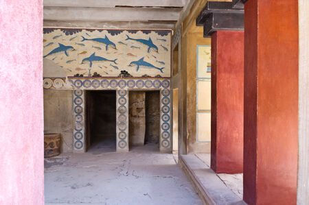 Details of queen s room at Knossos palace near Heraklion, island of Crete, Greece photo