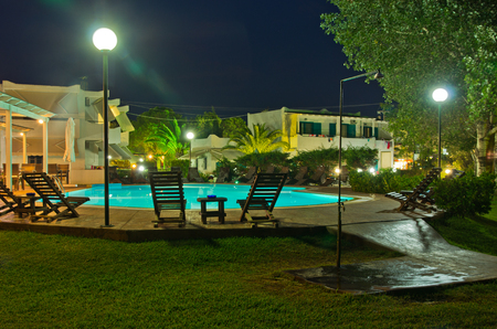 Pool bar ready for evening party at Sithonia, Greece photo