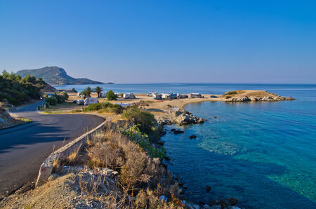 Morning at campers favorite site for summer vacations, near Destenika, Sithonia, Greece photo