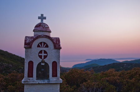 sithonia: Small church or chapel with typical Greek landscape at sunset, Sithonia, Greece