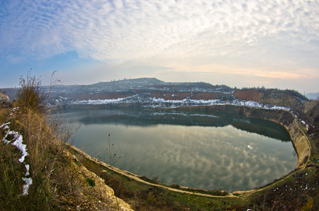 artifical: Small artifical lake on a sunny winter day, Fruska Gora, Serbia