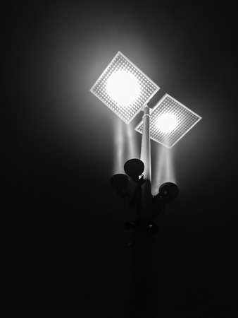 LED street light for energy conservation, black and white photo photo