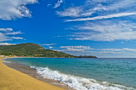 Wide angle view of a beautiful sandy beach at small greek village Toroni, Sithonia, Greece photo
