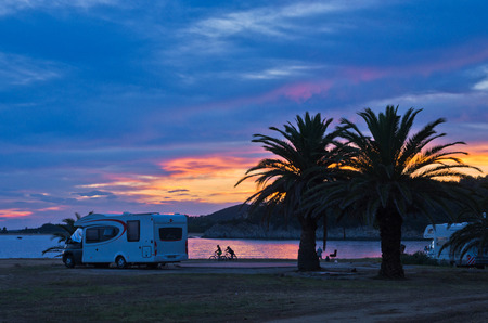 Sunset at campers favorite site for summer vacations in Chalkidiki, Sithonia, Greece