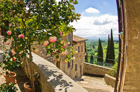 Roses on a balcony, cityscape of San Gimignano, Tuscany landscape in the background, Italy photo