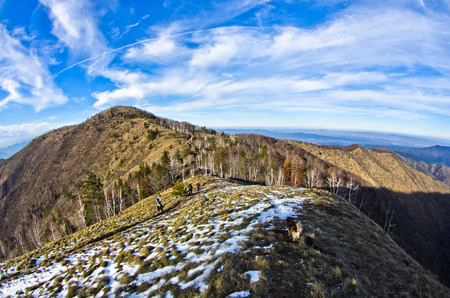 serbia landscape: Hiking through mountain landscape in early spring, mount Stolovi, Serbia