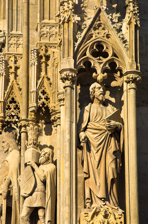 saint stephen cathedral: Sculptures and other details detail from the exterior of saint Stephen s catedral at downtown of Vienna, Austria