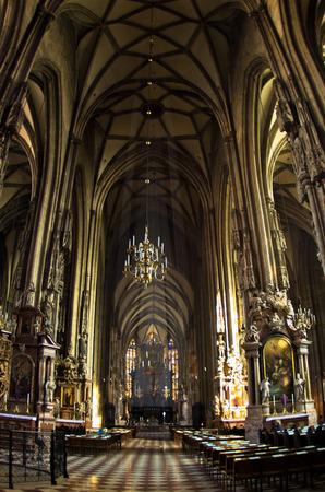 saint stephen cathedral: Super wide view inside of saint Stephen s cathedral at downtown of Vienna, Austria Editorial