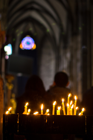 saint stephen cathedral: Candles inside saint Stephen s cathedral during easter holidays at downtown of Vienna, Austria Stock Photo