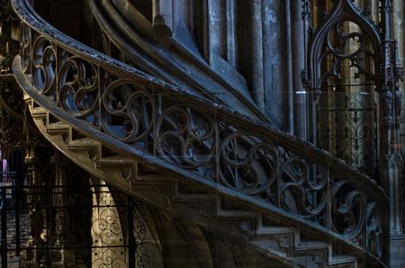 saint stephen cathedral: Architectural details of staircase inside of saint Stephen s cathedral at downtown of Vienna, Austria