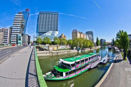Bridges over channel of Danube river in Vienna, Austria Editorial