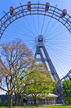 Viennese giant wheel called Wiener Riesenrad built in 1897  in Prater amusement park at Vienna, Austria photo