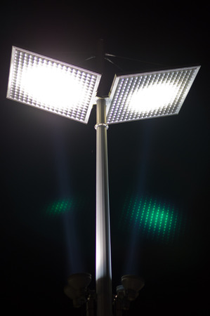 led lighting:   LED street light at night for energy conservation Stock Photo