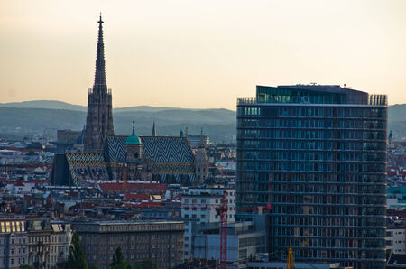 Vienna cityscape at sunset - city of thousand churches, Austria photo