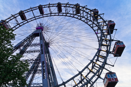 viennese: Viennese giant wheel called Wiener Riesenrad built in 1897  in Prater amusement park at Vienna, Austria