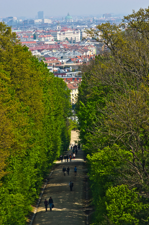 schoenbrunn: Cityscape telephoto view of Vienna from Schoenbrunn park, Austria Editorial