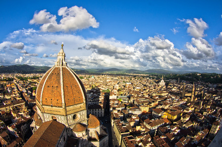 Super wide panoramic view of Florence with a dome of Santa Maria del Fiore cathedral in front, Italy photo